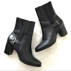 Cole Haan Chelsea Black Leather Buckle Boots